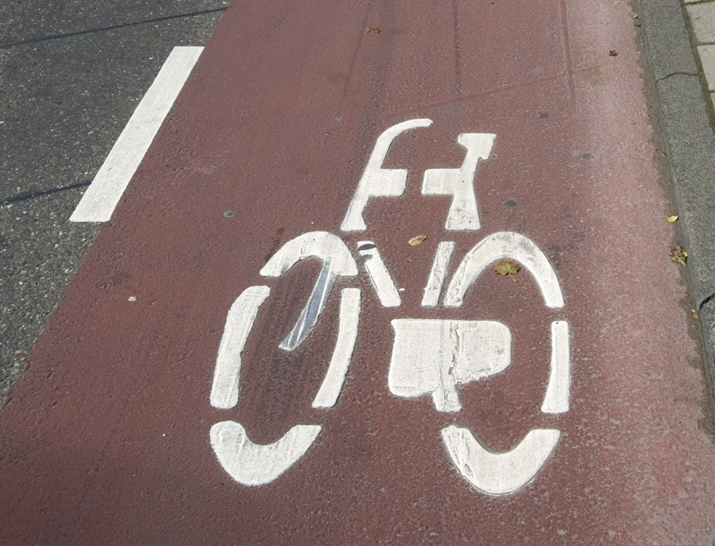 Red bicycle lane in Amsterdam